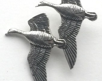 Geese in Flight Handcrafted From English Pewter Lapel Pin Badge + Gift Bag