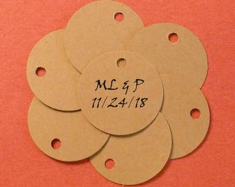 50 mini kraft wedding tags custom wedding favor tags wedding decorations bride groom tags mini tags rustic tags His & Her tag initials