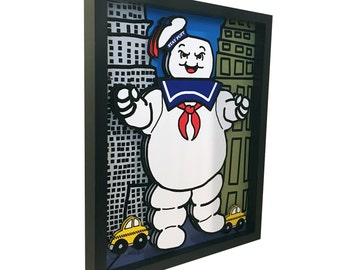 Ghostbusters Stay Puft Marshmallow Man Ghostbusters Movie Poster 3D  Art