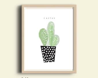 Printable wall art, printable cactus print, printable cactus poster, printable artwork, instant download, printable art, cactus poster