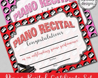 """Piano Recital Certificate, Instant Download, 8.5x11"""" Word, Fillable PDF"""