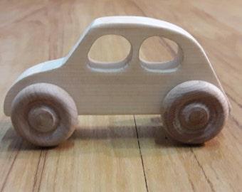 Wooden toy car, wood toy car, Handmade wood car, eco-friendly, Unfinished wood en car, Toddler toy, beetle, bug
