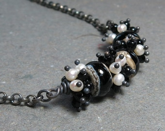 Black & White Necklace Lampwork Glass, Black Onyx, Pearls Cluster Oxidized Sterling Silver Necklace Gift for Wife