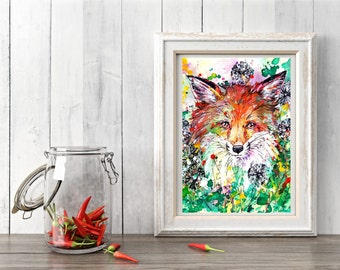 Fox art print, Woodland fox, Dandelions, Woodland decor, Fox wall art, Nursery wall art, Woodland art print, red fox, fox lover gift