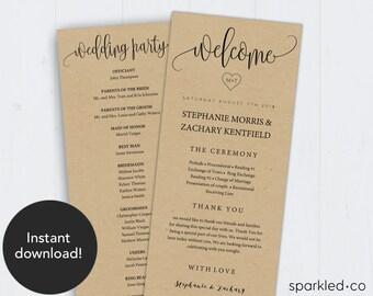 Rustic Wedding Program Template, Wedding Program, Rustic program, Program Template, Ceremony Program, Wedding Program Printable, DIY