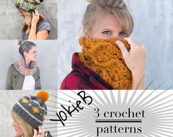 Crochet Pattern Bundle/ Crocheted Beanie/ Chunky Cowl/ Tapestry Crochet