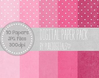 Pink Hearts Paper, Digital Distressed Paper, Pink Digital Paper Pack, Printable Paper, Scrapbooking Papers, Hearts Digital Paper