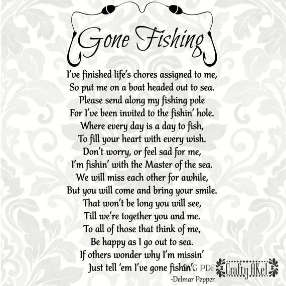 Gone Fishing Poem Bereavement Mourning Sympathy Grief