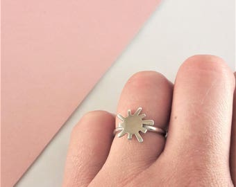 Ring Silver 925 sterling silver Sun handmade / Sun ring in Sterling silver handmade