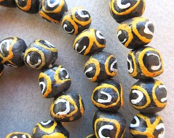 6 pieces Black Yellow Glass Krobo Beads, Destash, African Ghana Beads, 11x9mm