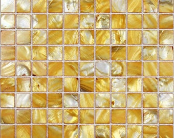 Freshwater Shell Tiles 100% Natural Mother of Pearl Tiles Yellow Seashell Mosaic Stained Kitchen Backsplash Wall Designs