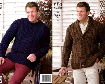 "King Cole Knitting Pattern 3820~Man's Jacket & Sweater~Super Chunky~36-50"""