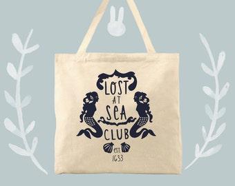 mermaid tote bag cotton canvas lost at sea club ocean tote
