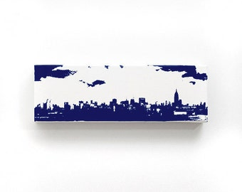 New York Skyline Canvas (12 x 4 inches, White with Navy Blue) Cityscape Art - Screen Print & Painting Home Decor, NYC Gift