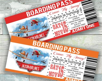 Digital Airplane Boarding Pass Birthday Invitation File