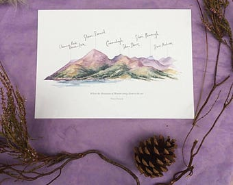 Mourne mountain with Percy French quote Print
