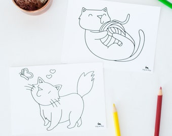 Kitty Cat Coloring Postcards, Handdrawn Cats, Variety set of 4, Adult Coloring Note Card, DIY Animal Note Cards