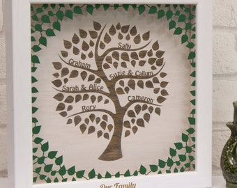Personalised Engraved Wooden Family Tree Wall Art