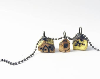My Adorable House Necklace, Cute Village, 3 Tiny Clay Houses, Colorful House Necklace Pendants, Yellow, 3Y