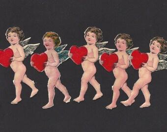 Vintage / German Scrap / Valentine's Day / Die-Cut Cupids / Five Items