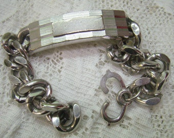Vintage SWANK Brushed Silver Link ID Bracelet...Mens Chunky Curb Chain...Engraveable Plate...Circa 1950s 1950s