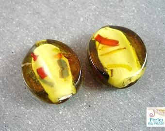 2 large glass beads, olivine, 25x28mm (pv169) pucks