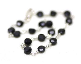 Black Spinel Bracelet, Wire Wrapped in Silver   Dainty, Minimal, Beautiful   Semi Precious Stone Jewelry   Gift for Her   Handmade by Azki