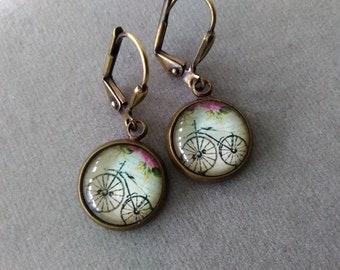 Antiqued Brass Vintage Bicycle Earrings