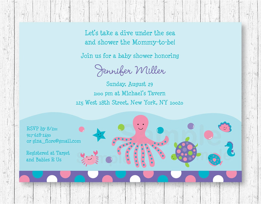 Cute Pink Under the Sea Baby Shower Invitation / Under The Sea