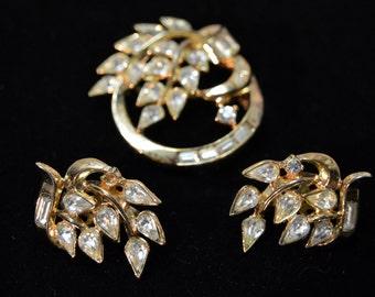 Vintage Estate Costume Jewelry Trifari Rhinestone & Goldtone Leaf Earrings and Brooch Set