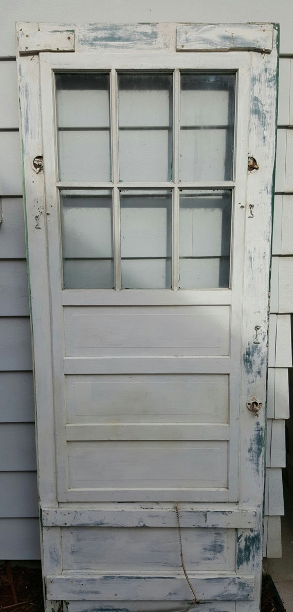 RESERVED for Mindy Screen Door Building Supply Architectural Salvage Antique Pantry 6 Pane Patio Exterior Farmhouse 30  by 80  from RENPECKEDFARMHOUSE ... & RESERVED for Mindy Screen Door Building Supply Architectural ...