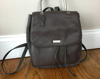 90s Small Backpack Drawstring Brown Leather