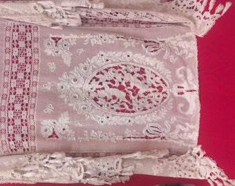 CHRISTMAS SALE Antique 1800s Religious table cloth / religious bedspread / antique lace / victorian lace /  bedspread / needle lace /