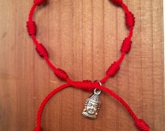 Red string bracelet. Buddha head bracelet. Yoga bracelet. Knotted bracelet. String bracelet. Knots bracelet.