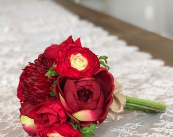 LOVELY Red faux bloom bouquet