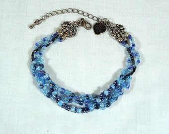 Braided Bead Bracelet - Blue