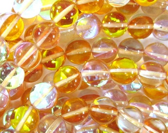 """10mm rainbow yellow quartz round beads 15.5"""" strand 35212"""