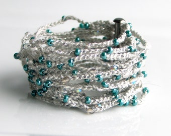 Gray and Teal Crocheted Cuff, Wide Thick Cotton Bracelet with Teal and Crystal Beads, Artist's Original Fiber Cuff