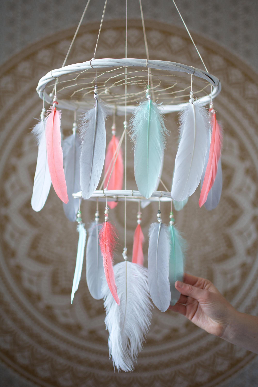 Coral Dream Catcher Feather Mobile Nursery Chandelier Dream