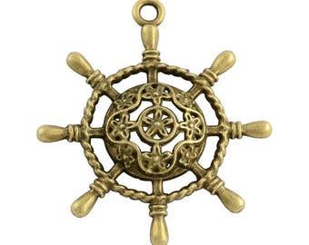 10 Antiqued Bronze  Ship Wheel Charms  38 x 34 x 5mm