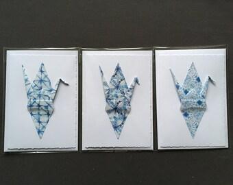 Origami Crane Cards x 3 – Blue