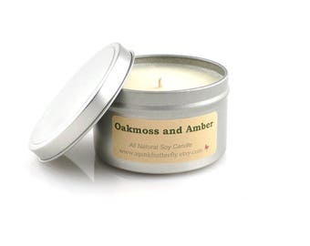 Oakmoss and Amber Soy Candle - 8 oz Scented Handmade Natural Soy Wax Vegan Candle Eco-Friendly Recyclable Tin