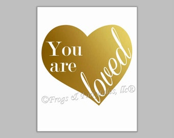 You Are Loved Gold Foil Heart Canvas Wall Art Print