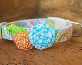 Spring Flower Dog Collar - Grey/Pink/Orange/Blue Paisley with Blue and Orange Flowers and Green Leaf