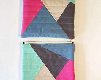 Modern quilted large zipper pouch