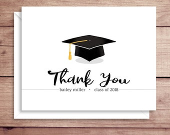 Graduation Note Cards - Grad Cap Folded Note Cards - Graduation Stationery - Grad Thank You Notes - Graduation Thank You