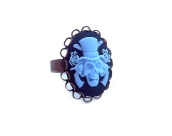 Blue gun skeleton cameo bronze Adjustable ring