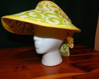 Handmade Garden Sun Visor Hat Spring Green Swirl With Ties Bow Back
