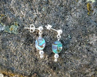 Sterling Silver Abalone Shell Post Earrings, Post Dangle Earrings, Abalone Earrings, Paua Shell Earrings