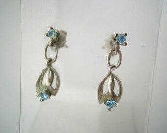 Sterling Silver Vintage Earrings with Blue Brilliant